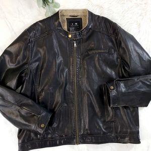 I5 Apparel Weathered Faux Leather Biker Jacket
